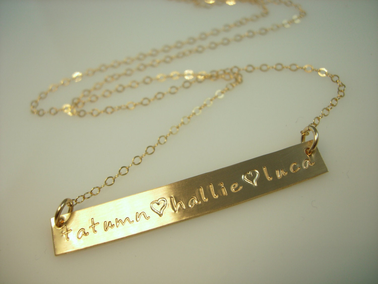quote gold bar necklace name plate by jamesmichellejewelry