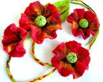 Felted Flower, Hand Felted, Wool Jewelry felted NECKLACE and  brooch - POPPY- -