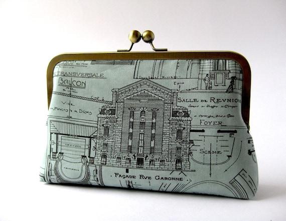 Paris Architectural Design contemporary clutch in Silk Lining Bag Noir, Evening purse, Formal clutch bag