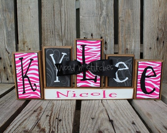 Personalized Name Wood Block Set . . . great for wedding home decor primitive gift boy girl family personalized wood sign