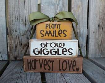 Primitive Autumn Fall Grow GIGGLES Plant SMILES Harvest LOVE Wood block set  fall autumn pumpkin home seasonal decor personalized gift