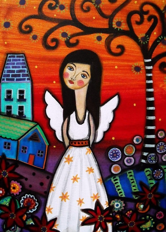 Mexican Folk Art Angel Whimsical Tree Of Life Painting Print