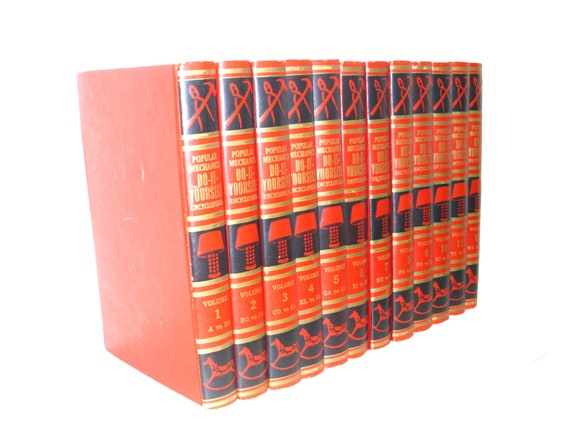 Do-It-Yourself Encyclopedia's 1955 Popular Mechanics vol. 1- 12 full set illustrated red books set