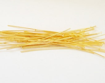 "Gold Headpins - Gold Plated Head pins - Flat End Pins - (200) Pcs - 2.5""  70mm 21 Gauge - Jewelry Findings - Diy Craft Supplies"