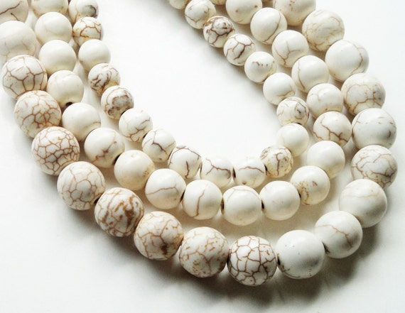 White With Veins Turquoise Round  Beads/10mm 16 Inch  Strand  This Is Not A Necklace
