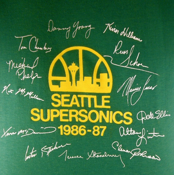1986-1987 Seattle Supersonics Team Roster Tee - Deadstock and Authentic