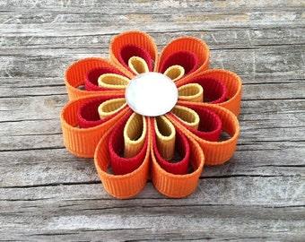 Orange, Cranberry, and Gold Hair Bow, Flower Ribbon Sculpture Hair Clip, Girls Hair Bows, Toddler Hair Bows, Autumn Hair Bows, Free Shipping