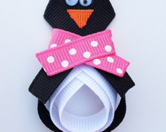 Penguin Hair Clip, Penguin with a Pink Scarf Hair Clip, Penguin Ribbon Hair Clip, Little Girls Hair Bows, Toddler Hair Clip, Hair Clips