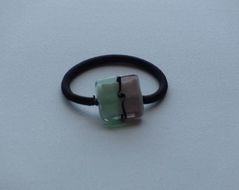 Pink & green lampwork glass bead, ponytail holder