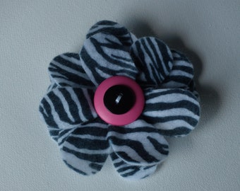Zebra print black & white large flower hair alligator clip with hot pink or black rhinestone buttons