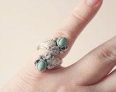 Vintage Stamped Green Turquoise Ring