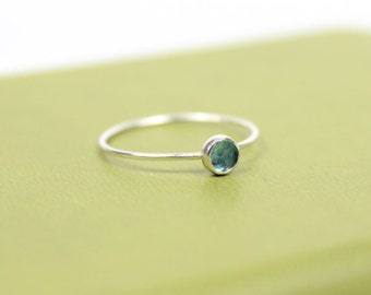 Barely There Rose Cut Medium Light Blue Apatite Stacker Ring - Sterling Silver