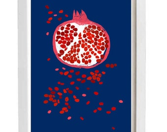"Fruit art print - Indigo Pomegranate -  11""x15"" - archival fine art giclée print"