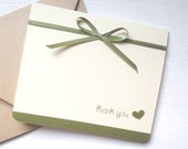 Wedding Thank You Card - Set of 10 - Green Sage, Olive and Ivory Cream