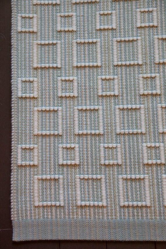 Small Wool Area Rug, Hand Woven, Geometric Blue Greens & Cream