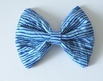 Blue Hair Bow, Large Blue Hair Bow, Rockabilly- Nautical- Birthday- Women- Girls- Teens