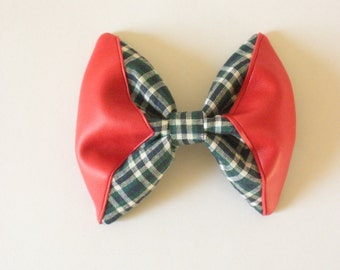 Large Hair Bow With Red Vegan Leather, Hunting and Fishing Trend
