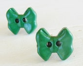 Green Bow Titanium Hypoallergenic Stud Earrings, Nickel Free Posts for Sensitive Ears, Titanium Post Earrings, Hypoallergenic Kids Earrings