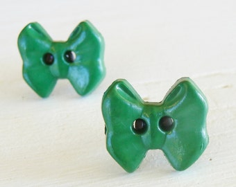 Green Bow Titanium Hypoallergenic Stud Earrings, Nickel Free Posts for Sensitive Ears, Titanium Post Earrings, Hypoallergenic Kids Earrings