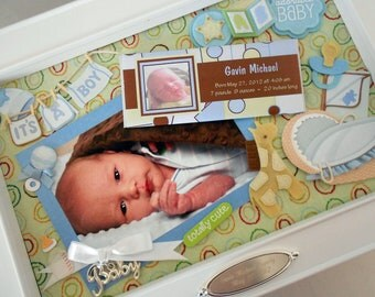 BUNDLE OF JOY Baby Keepsake Box with Engraved Name Plate