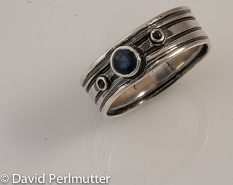 Sterling Silver Size 8 3/4 Ring Set with 3 Sapphire Gemstones From Israel