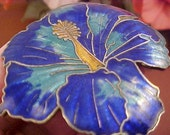Lovely Deep Blue Cloisonne Hibiscus Flower Design Brooch/Pin