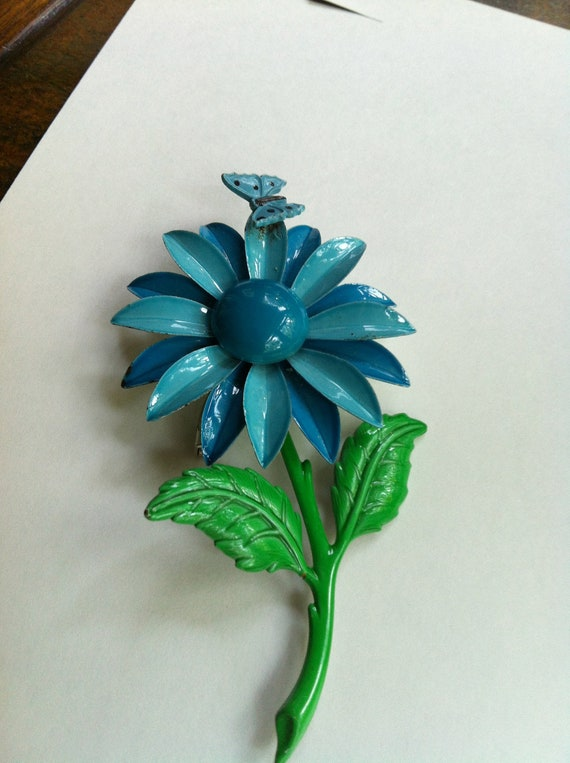 Enameled Vintage Floral Gorgeous Brooch Sky Blue and Bright Green with Butterfly attached