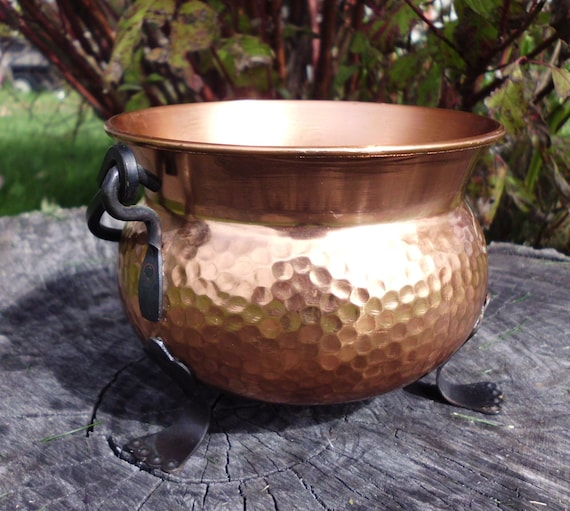 Hammered Copper Cauldron Witches Pot Belly Cauldron Hammered
