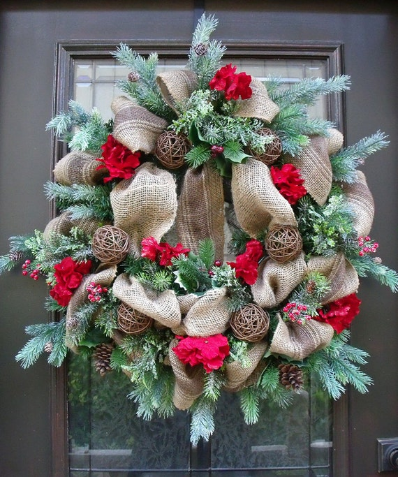 Burlap christmas wreath winter burlap wreath rustic country Burlap xmas wreath