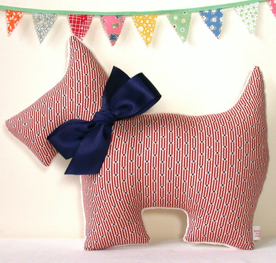 Plush Scottie Dog in Red and Navy Nursery Decor Stuffed Toy