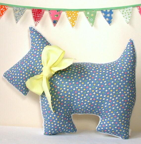 Plush Scottie Dog for Girls and Boys Nursery Decor Stuffed Pillow