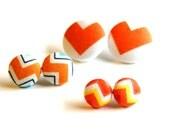 Orange Chevron Fabric Button Earrings - Set of Three