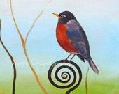 "Robin print 8 x 10 giclee bird print ""Spring Rising"""