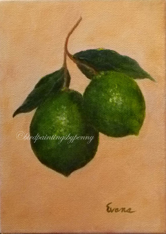 LIMES Painting 5 x 7 fruit painting original