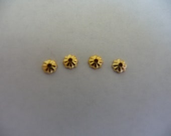 Bead cap, gold-plated brass, 3.5mm ribbed, Pkg Of 18