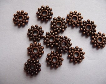 SALE!!  Bead, antiqued copper, pewter, zinc based alloy, 8 point 5mm, dotted rondelle, Pkg Of 10  SALE!!