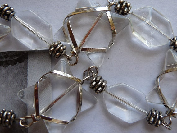 Beads, Wire Wrap, Clear Glass,4, 24mm, Rectaingle 4, 16x10mm, silver metal, 8, rondelles, Pkg Of 16 Pieces