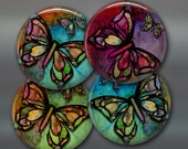 "3.5"" colourful butterfly fridge magnets, , set of 4 magnets, kitchen decor, large fridge magnet"