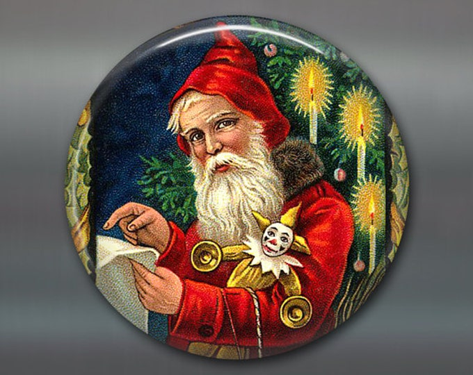 Christmas magnet, victorian santa decor, christmas decoration, kitchen decor, large magnet, oversize magnet  MA-1320