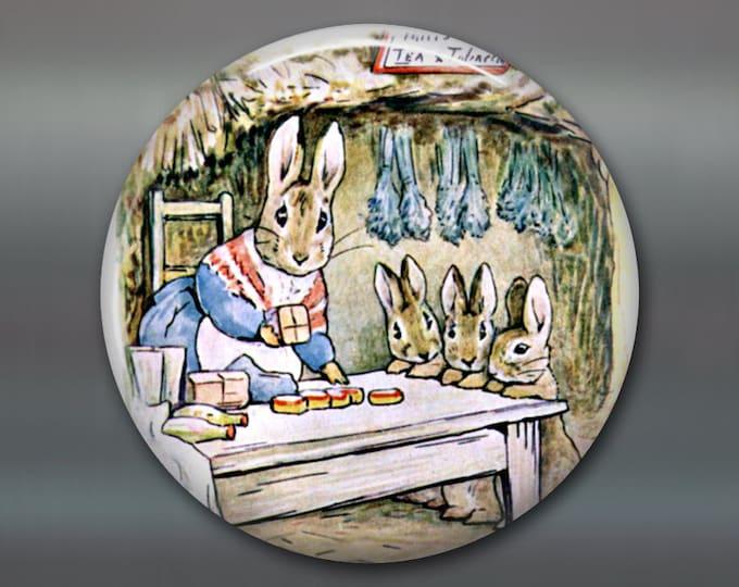"3.5"" cute bunny magnet, beatrix potter fridge magnet, bunny decor, large children's magnet, stocking stuffer for kids  MA-114"