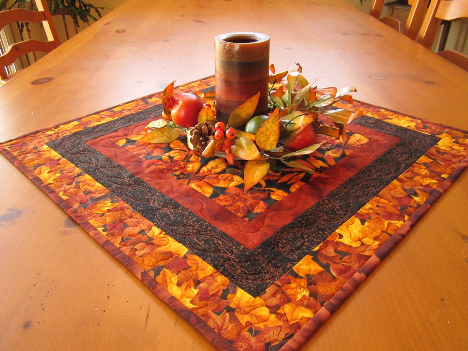 Quilted Table Topper Rustic Golden Leaves Fall Table Topper