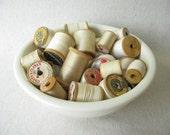 RESERVED FOR MARIJKE Vintage White Thread Wood Spools