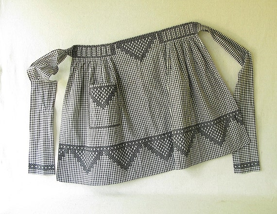 Vintage Gingham Embroidered Apron
