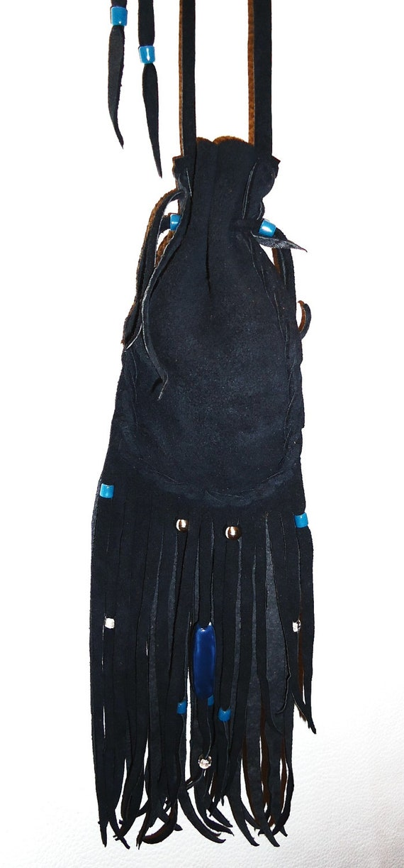 RESERVED for MJ Drawstring leather medicine bag blue onyx worry stone