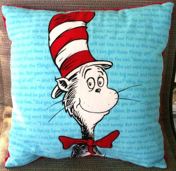 "Child's Pillow - Dr. Seuss Cat in the Hat Flannel and Bright Red Dimple Minky, 14"" X 14"""