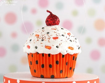 Orange & Black Polka Dot Mini Fake Cupcake Decoration - Halloween #CUP180