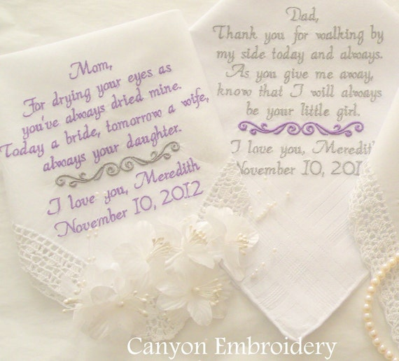 Wedding Gift Ideas Embroidered : Personalized Gift Embroidered Wedding Handkerchief Wedding Mother ...