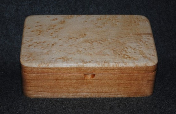 Bird's Eye Maple on Cherry Handmade Wooden Stash Box