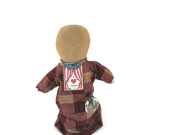 July 4, Patriotic Doll, USA, Primitive Doll, Flag, Faceless, Church Doll, Red White Blue, American Flag, Burgundy, Cream, Rusty Star
