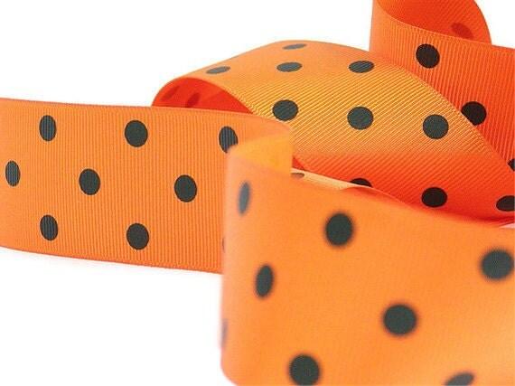 Orange Ribbon, Polka Dots, Orange and Black, Grosgrain, Ribbon, Halloween Ribbon, 5 Yards, Orange Polka, 1.5 inch wide, Trim, Destash